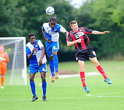 Bristol Rovers' U18s Trey Anderson clears the ball away with a header - Photo mandatory by-line: Dougie Allward/JMP - Tel: Mobile: 07966 386802 17/08/2013 - SPORT - FOOTBALL - Bristol Rovers Training Ground - Friends Life Sports Ground - Bristol - Academy - Under 18s - Youth - Bristol Rovers U18s V Bournemouth U18s