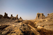 A mountain range of salt in the Danakil Depression