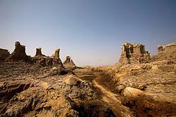 A mountain range of salt in the Danakil Depression