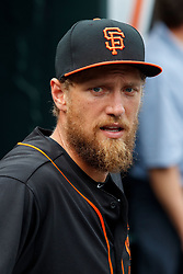 SAN FRANCISCO, CA - AUGUST 05: Hunter Pence #8 of the San Francisco Giants stands in the dugout before the game against the Arizona Diamondbacks at AT&T Park on August 5, 2017 in San Francisco, California. The San Francisco Giants defeated the Arizona Diamondbacks 5-4 in 10 innings. (Photo by Jason O. Watson/Getty Images) *** Local Caption *** Hunter Pence