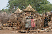 Huts at the Daasanach tribe village, Omo Valley, Ethiopia, Africa