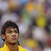 Neymar, Brazil, during the team national anthems before the USA V Brazil International friendly soccer match at FedEx Field, Washington DC, USA. 30th May 2012. Photo Tim Clayton