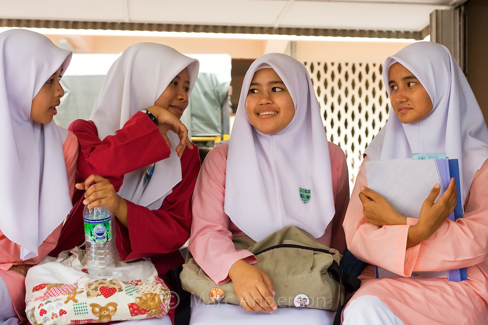 Malaysian School Girls Wearing Islamic School Uniforms.