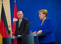 DEU, Deutschland, Germany, Berlin, 28.09.2018: Bundeskanzlerin Dr. Angela Merkel (CDU) und der Präsident der Türkei, Recep Tayyip Erdogan, bei einer Pressekonferenz im Bundeskanzleramt.