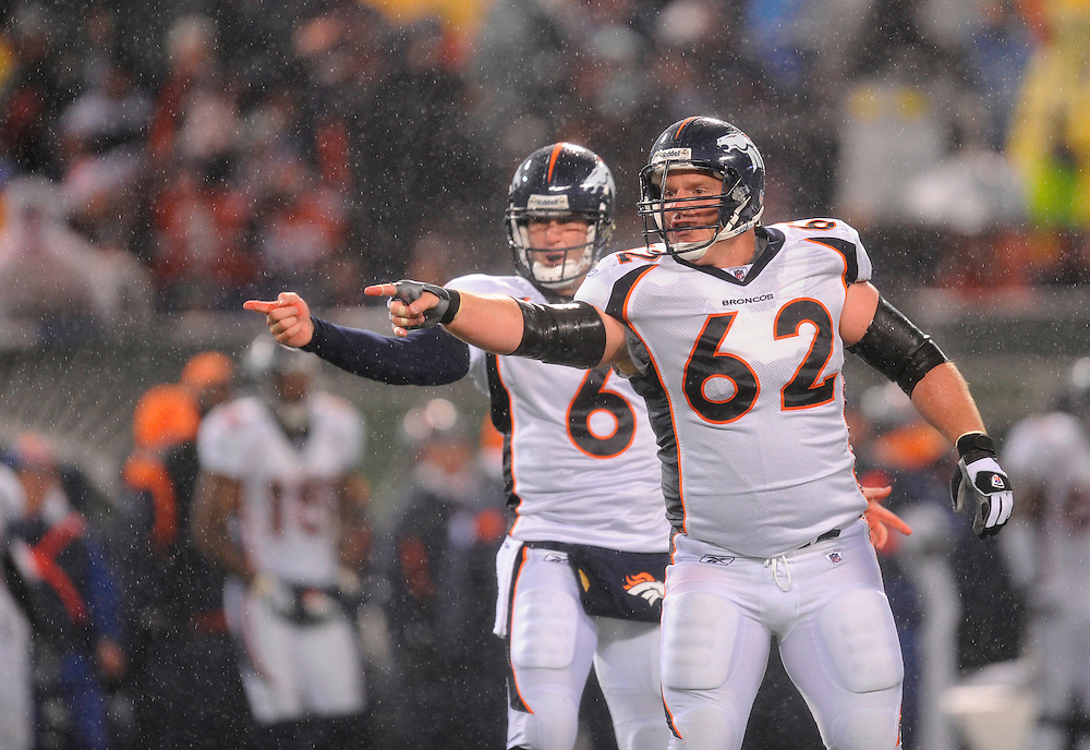 EAST RUTHERFORD, NJ - NOVEMBER 30: Quarterback Jay Cutler #6 and center Casey Wiegmann #62 of the Denver Broncos gestures toward the referee against the New York Jets on November 30, 2008 at Giants Stadium in East Rutherford, New Jersey. The Broncos defeated the Jets 34 to 17. (Photo by Rob Tringali/Sportschrome/ Images) *** Local Caption *** Jay Cutler;Casey Wiegmann