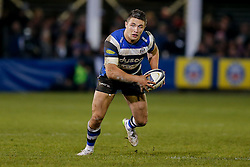 Bath Inside Centre Sam Burgess, making his first start for the Club, runs with the ball - Photo mandatory by-line: Rogan Thomson/JMP - 07966 386802 - 12/12/2014 - SPORT - RUGBY UNION - Bath, England - The Recreation Ground - Bath Rugby v Montpellier Herault Rugby - European Rugby Champions Cup Pool 4.