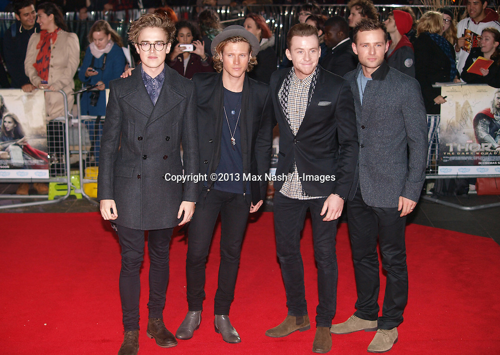 British rock group McFly arrive for the World Premiere of the film Thor The Dark World.  in London's Leicester Square, England, United Kingdom. Tuesday, 22nd October 2013. Picture by Max Nash / i-Images