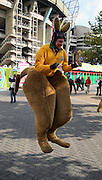One of the best dressed Australian fans I have ever seen during the Rugby World Cup Quarter Final match between Australia and Scotland at Twickenham, Richmond, United Kingdom on 18 October 2015. Photo by Matthew Redman.