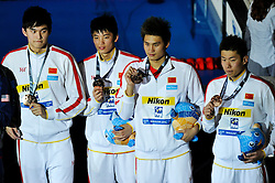 02.08.2013, Barcelona, ESP, FINA, Weltmeisterschaften für Wassersport, Medailliengewinner, im Bild China team with Wang, Hao, Li, Sun, with bronze medal at 4x200 Freestyle Relay Men Finalist Victory Ceremony // during the FINA worldchampionship of waterpolo, medalists in Barcelona, Spain on 2013/08/02. EXPA Pictures © 2013, PhotoCredit: EXPA/ Pixsell/ HaloPix<br /> <br /> ***** ATTENTION - for AUT, SLO, SUI, ITA, FRA only *****