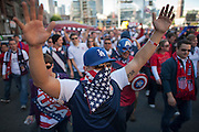 A faithful following during the March to the Match - USA vs. Panama Men's Soccer - FIFA World Cup qualifying match between the USA and Panama Tuesday, June 11, 2013 at CenturyLink Field in Seattle, WA.