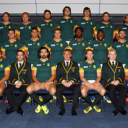 BIRMINGHAM, ENGLAND - SEPTEMBER 25: The South African national rugby union team players pose during the South African national rugby team official photograph at Regency Hyatt Birmingham on September 25, 2015 in Birmingham, England. (Photo by Steve Haag/Gallo Images)