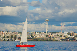 United States, Washington, Seattle, downtown skyline and sailboat in Elliott Bay