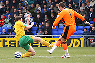 Oldham - Saturday February 26th, 2010 :  Grant Holt of Norwich and Dean Brill of Oldham in action during the Coca Cola League One match at Boundary Park, Oldham. (Pic by Paul Chesterton/Focus Images)..