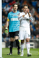 Real Madrid´s Chicharito (R) and Cornella´s goalkeeper Inigo during Spanish King Cup match between Real Madrid and Cornella at Santiago Bernabeu stadium in Madrid, Spain. May 26, 2013. (ALTERPHOTOS/Victor Blanco)