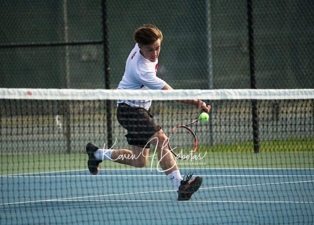 St Paul's School varsity boys tennis with St. Mark's. ©2016  Karen Bobotas Photographer
