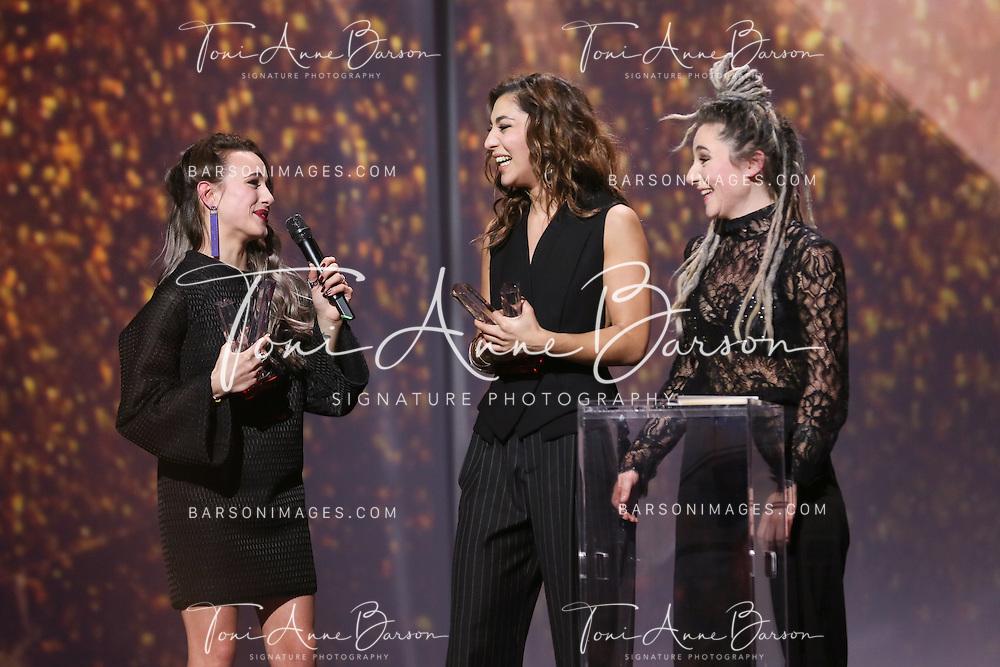 "PARIS, FRANCE - FEBRUARY 10:  L.E.J receives award during the ""32nd Victoires de la Musique 2017"" at Le Zenith on February 10, 2017 in Paris, France.  (Photo by Tony Barson/FilmMagic)"
