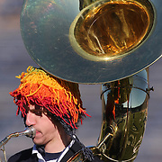 A member of the Yale University Band performing during the Yale Vs Princeton, Ivy League College Football match at Yale Bowl, New Haven, Connecticut, USA. 15th November 2014. Photo Tim Clayton