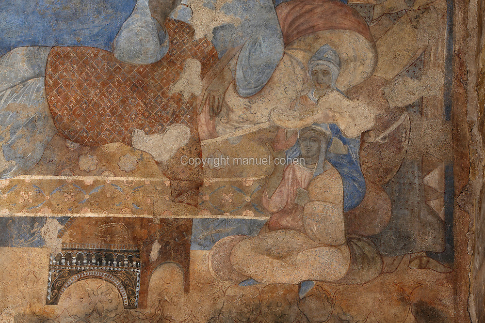 Fresco from Qasr Amra, Jordan. This fresco depicts a woman reclining on a couch with seated figures below. These early Islamic frescoes have strong Persian and Byzantine influences. The original castle complex was built in 723-743 by Walid Ibn Yazid, the future Umayyad Caliph Walid II. It was a fortress with military garrison and residence of the Umayyad Caliphs. Today only the royal pleasure cabin remains, with reception hall and hammam or bath house. Picture by Manuel Cohen