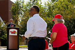 19 September 2009: Illinois State Athletic President Al Bowman makes a short speech and introduces Will Robinson Jr. and his wife as Illinois State University took the day to celebrate 2 of it's own, the late Will Robinson and national hero Doug Collins.  Will Robinson became the first black head basketball coach in NCAA Division I history when names ISU basketball coach in 1970.  Doug Collins was an Illinois State standout basketball player who represented the United States in the 1972 Olympics, played NBA ball for several years where he later coached and recently recieved the Curt Gowdy Media Award for career in broadcasting.  A statue was erected in their honor on the terrace just north of the main entrance to Redbird Arena on ISU's campus in Normal IL