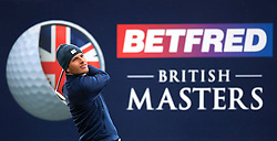 England's Matthew Jordan tees off the 16th during day one of the Betfred British Masters at Hillside Golf Club, Southport.
