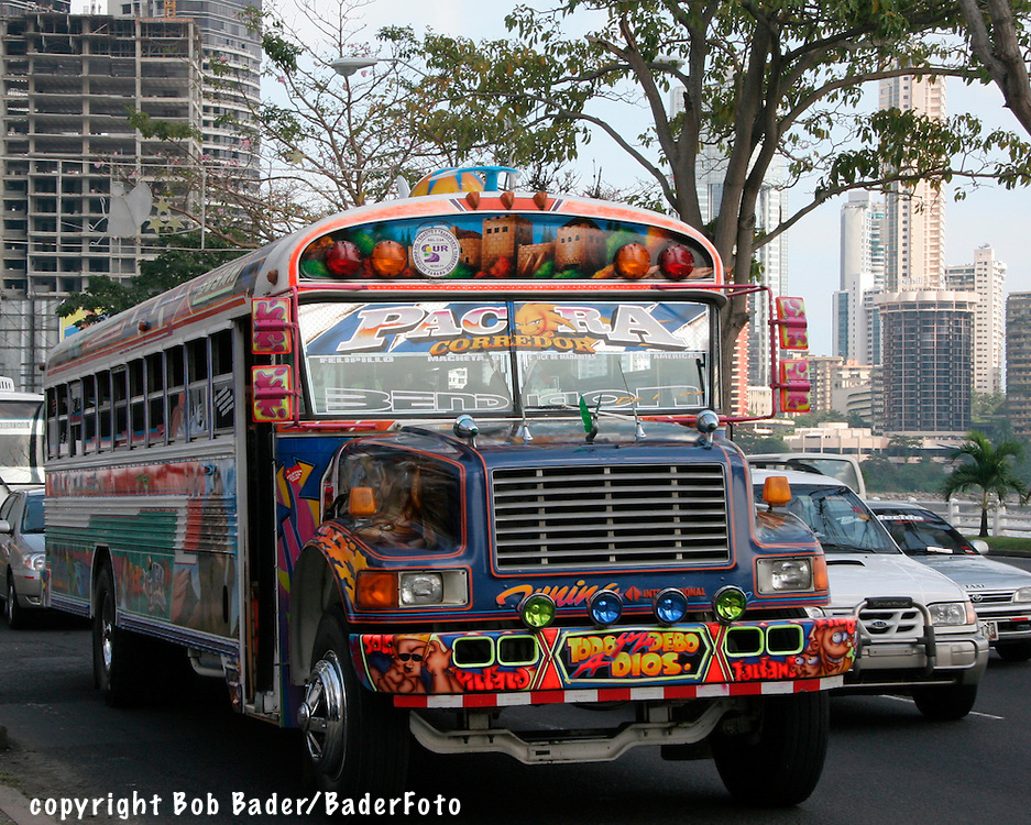 Painted Inter-city bus on busy street in Panama City, Panama