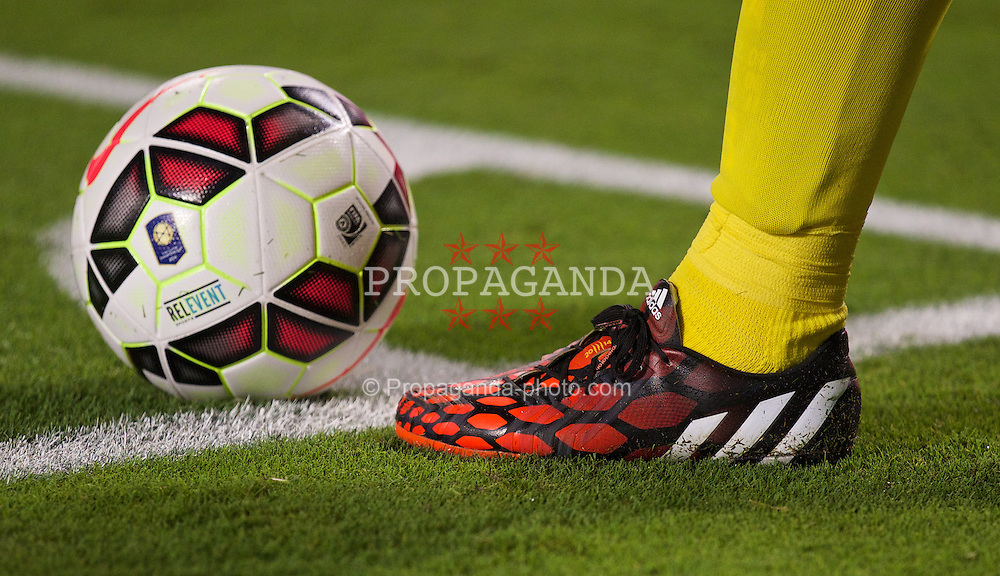 MIAMI, USA - Monday, August 4, 2014: The addidas boot of Liverpool's captain Steven Gerrard in action against Manchester United during the International Champions Cup Final match at the SunLife Stadium on day fifteen of the club's USA Tour. (Pic by David Rawcliffe/Propaganda)