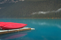 Red canoes on dock, Lake Louise, Banff National Park