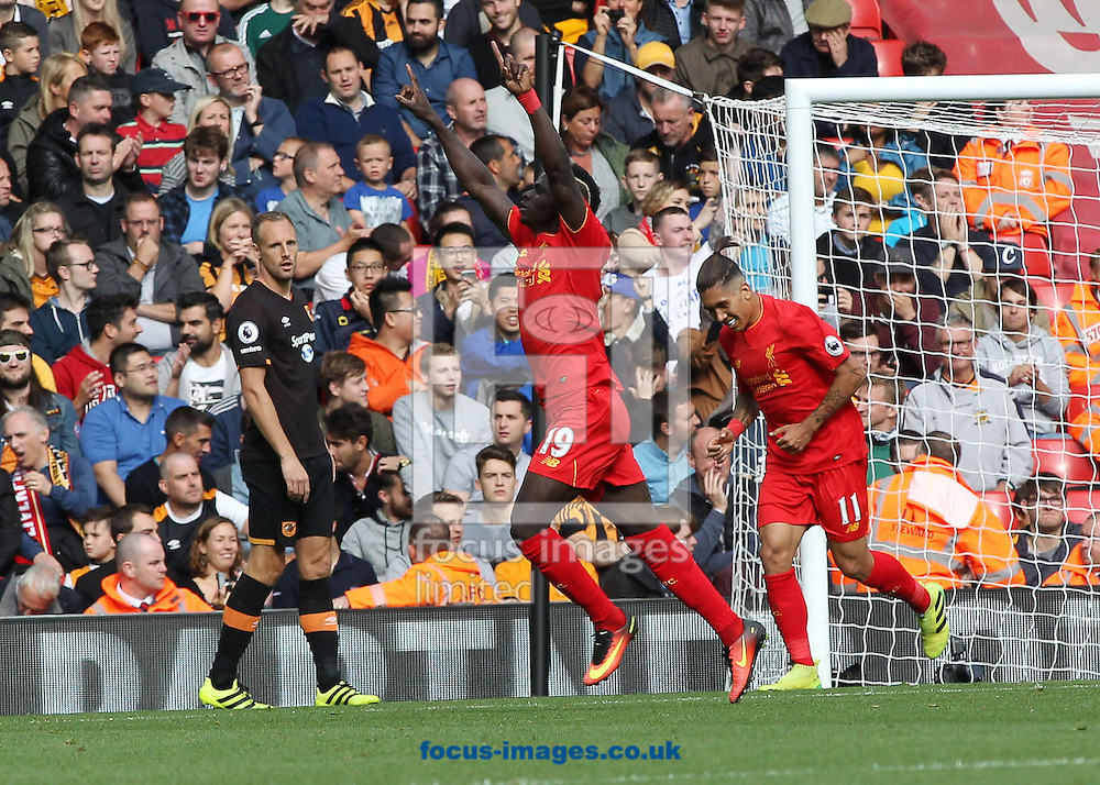 Sadio Mane of Liverpool celebrates scoring the third goal against Hull City during the Premier League match at Anfield, Liverpool.<br /> Picture by Michael Sedgwick/Focus Images Ltd +44 7900 363072<br /> 24/09/2016