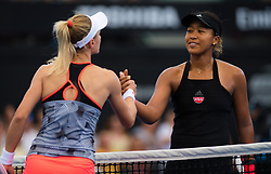 January 5, 2019 - Brisbane, AUSTRALIA - Lesia Tsurenko of the Ukraine & Naomi Osaka of Japan at the net after their semifinal of the 2019 Brisbane International WTA Premier tennis tournament (Credit Image: © AFP7 via ZUMA Wire)