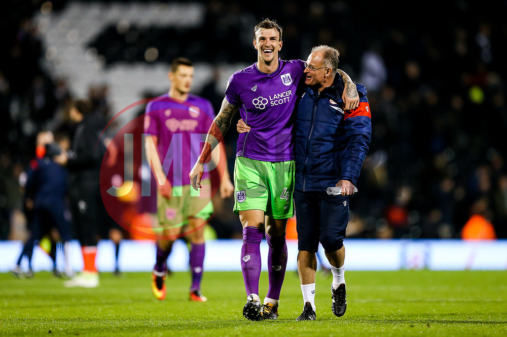 Aden Flint of Bristol City celebrates with David Coles after a 0-2 win - Rogan/JMP - 31/10/2017 - Craven Cottage - London, England - Fulham FC v Bristol City - Sky Bet Championship.