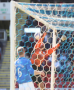 St Johnstone's Alan Mannus is relieved as Paul McGinn's cross comes of the top of the bar - St Johnstone v Dundee, SPFL Premiership at McDiarmid Park<br /> <br />  - &copy; David Young - www.davidyoungphoto.co.uk - email: davidyoungphoto@gmail.com