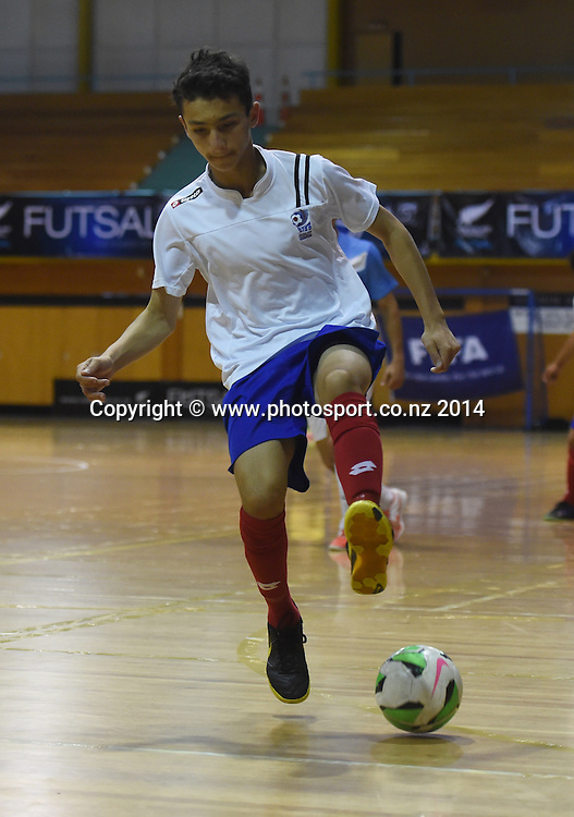 Sam Twigg for AFF Futsal. Central Futsal Hawkes Bay v AFF Futsal. National Futsal League, Series 3. ASB Stadium, Auckland, New Zealand. Friday 5 December 2014. Photo: Andrew Cornaga/photosport.co.nz