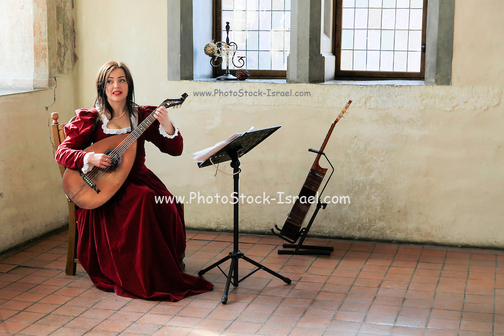 woman plays the lute inside the Malbork (Marienburg) Castle Poland