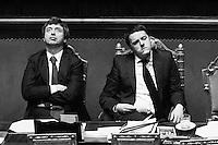 ROME, ITALY - 24 February 2014:  Matteo Renzi, 39, the youngest prime minister in held a spoke to lawmakers before the Senate approved a confidence vote on his new government in Rome, Italy, on February 24th 2014.<br /> <br /> ###<br /> <br /> Roma, febbraio 2014. Il Primo Ministro Matteo Renzi e il Ministro della Giustizia Andrea Orlando in attesa del voto dopo il discorso del premier per la fiducia al Senato.