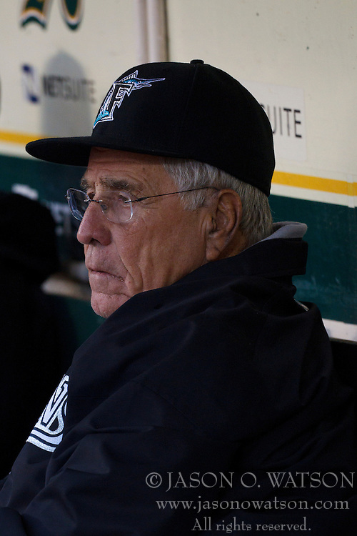 June 28, 2011; Oakland, CA, USA;  Florida Marlins interim manager Jack McKeon (25) sits in the dugout during a rain delay before the game against the Oakland Athletics at the O.co Coliseum.