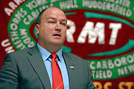 Bob Crowe, Gen Sec, speaking at the RMT Annual General Meeting.