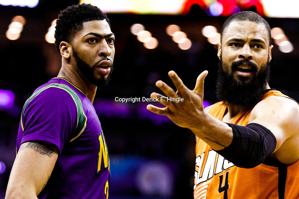 Feb 6, 2017; New Orleans, LA, USA; New Orleans Pelicans forward Anthony Davis (23) and Phoenix Suns center Tyson Chandler (4) during the first quarter of a game at the Smoothie King Center. Mandatory Credit: Derick E. Hingle-USA TODAY Sports