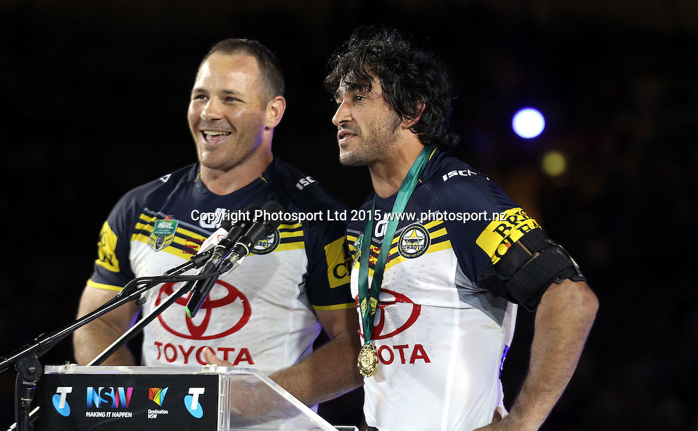 Matthew Scott and Johnathan Thurston co captains<br /> Broncos v Cowboys NRL Grand Final rugby league match at ANZ Stadium, Homebush Australia. Sunday 4 October 2015. Photo: Paul Seiser/Photosport.nz