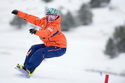 FINA PAREDES Astrid, banked slalom training, 2015 IPC Snowboarding World Championships, La Molina, Spain