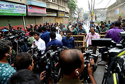 October 10, 2018 - Dhaka, Bangladesh - Bangladesh police and Media Parsons standard near the special court, following verdict in the cases filed over August 21 grenade attack, in Dhaka, Bangladesh, on October 10, 2018. Former State Home Minister Lutfozzaman Babar, former Deputy Education Minister Abdus Salam Pintu and 17 others were sentenced to death while BNP leader Tarique Rahman and 18 others were awarded life term imprisonment for the grenade attack on Awami League rally on August 21, 2004. Judge Shahed Nuruddin of the Speedy Trial Tribunal-1 delivered the verdict in the two cases in Dhaka, Bangladesh. On October 10, 2018  (Credit Image: © Str/NurPhoto via ZUMA Press)