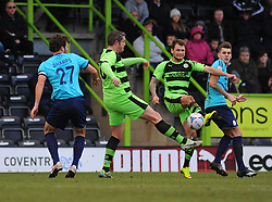 Forest Green Rovers's James Norwood and Forest Green Rovers's Jonathan Parkin challenges for the ball- Photo mandatory by-line: Nizaam Jones - Mobile: 07966 386802 - 21/02/2015 - SPORT - Football - Nailsworth - The New Lawn - Forest Green Rovers v AFC Telford - Vanarama Football Conference