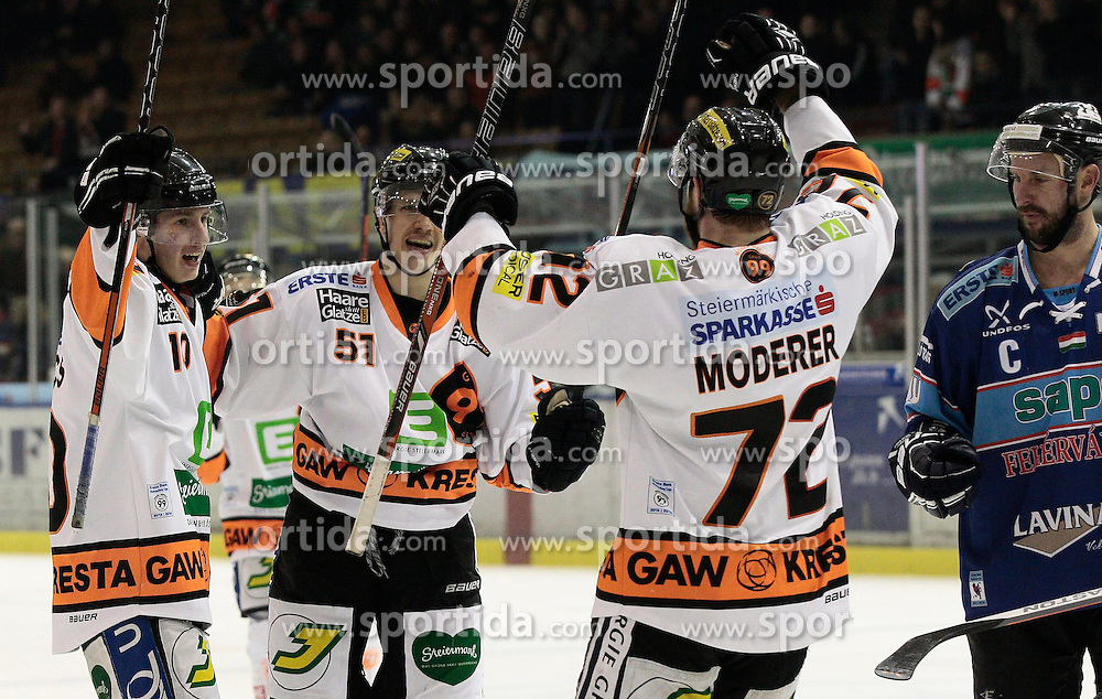 13.11.2013, Eisstadion Liebenau, Graz, AUT, EBEL, Moser Medical Graz 99ers vs SAPA Fehervar AV19, 34. Runde, im Bild Zintis Zusevics (Moser Medical Graz 99ers), Daniel Woger (Moser Medical Graz 99ers) und Kevin Moderer (Moser Medical Graz 99ers) // during the Erste Bank Icehockey League 34th Round match between Moser Medical Graz 99ers and SAPA Fehervar AV19 at the Ice Stadium Liebenau, Graz, Austria on 2013/11/13, EXPA Pictures © 2013, PhotoCredit: EXPA/ Erwin Scheriau