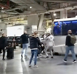 EXCLUSIVE: ** NO USA TV AND NO USA WEB **TMZ Sports has obtained video of Conor McGregor and his entourage going BERSERK at the Barclays Center ... attacking a bus leaving the arena with several UFC fighters including Khabib Nurmagomedov. An object was thrown through one of the bus windows -- and the damage left one fighter, UFC lightweight contender Michael Chiesa, cut up and bloodied. Unclear who was responsible for shattering the side window but it's clear people on the bus suspect it's Conor. A member of Conor's entourage then grabbed a chair and threw it at the front windshield of the bus. Conor grabbed a chair and tried to attack as well, but was restrained. 05 Apr 2018 Pictured: Conor McGregor. Photo credit: TMZ/MEGA TheMegaAgency.com +1 888 505 6342