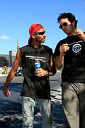 Writer and advocate for the homeless in Las Vegas Matthew O'Brien (left) with Rick. Rick live in the storm drains under the casinos. Under the neon signs and singing slot machines in Las Vegas hundreds of homeless people live in the more than 200 miles of storm drains.