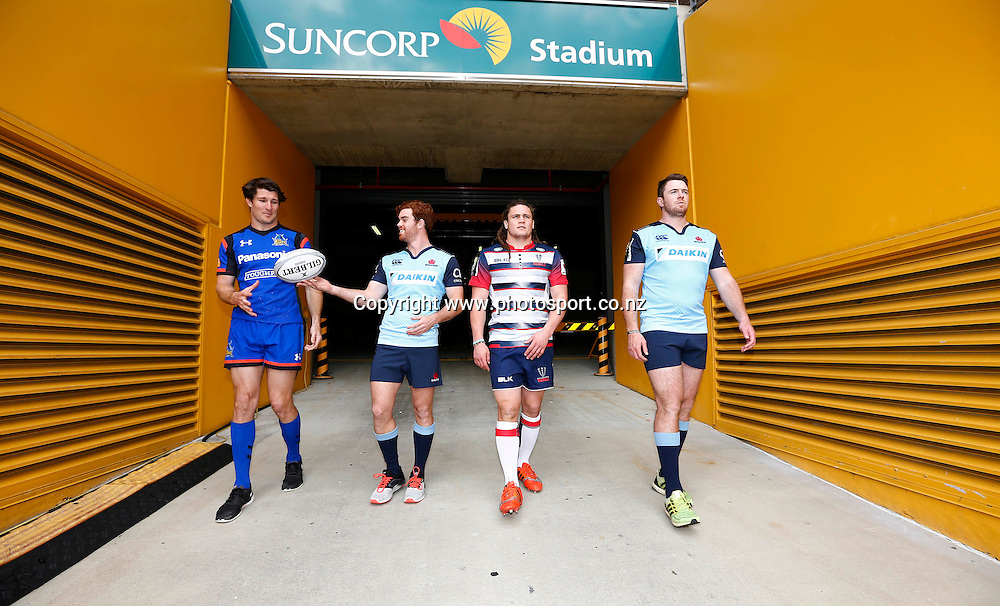 The Brisbane Global Ten's Rugby Launch - 4/8/2016 South Bank , Brisbane Australia<br /> Players walk onto the field at Suncorp Stadium<br /> Photo : Jason O'Brien / Photosport