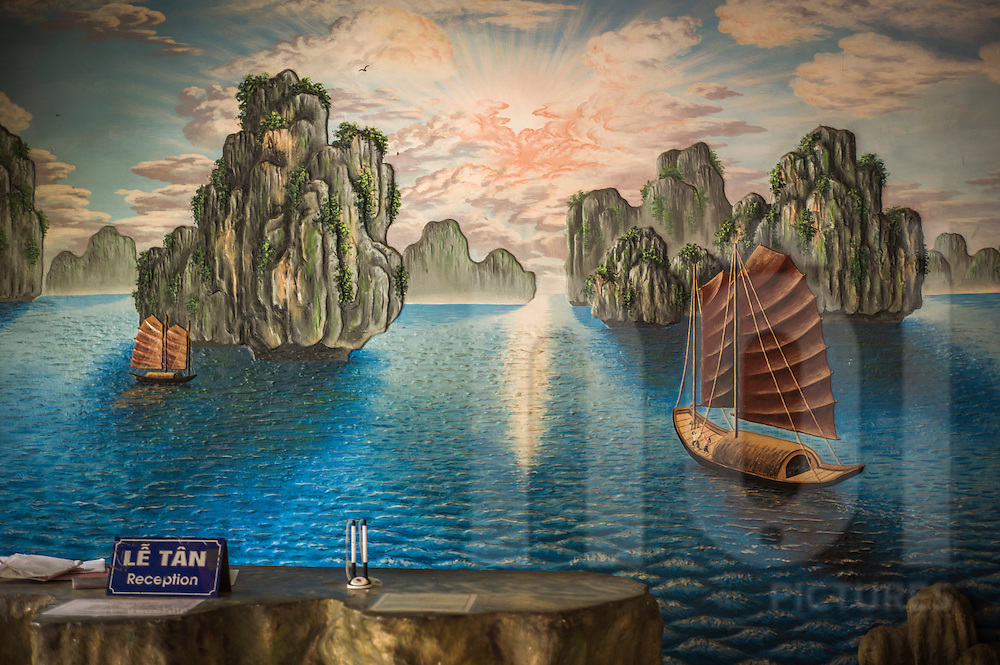 Wall mural in An Lac Hotel of Halong Bay, Muong Khen, Vietnam, Southeast Asia