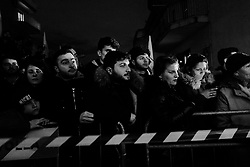Supporters of the 5 Star Movement awaiting the arrival of their leader Luigi Di Maio. Volla (NA) 6 March 2018. Christian Mantuano / OneShot