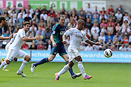 Swansea city's Wayne Routledge ® scores his sides 1st goal. Barclays Premier league, Swansea city v Sunderland at the Liberty Stadium in Swansea, South Wales on Saturday 1st Sept 2012. pic by Andrew Orchard, Andrew Orchard sports photography,
