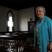 Ruth Perry has been a member of the Bailey Island Church for a long time. Her many contributions help keep the church and community strong. Photo by Roger S. Duncan.