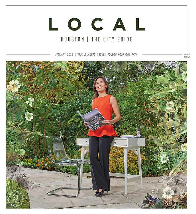 Claudia Gee Vassar, former principal at Claudia Gee Vassar LLC, was named Executive Director and General Counsel to Houston Botanic Garden (HBG).<br /> <br /> Vassar is a native Houstonian and Rice graduate who earned a law degree from the University of Virginia. After practicing law for a decade, Vassar began consulting work with local non-profits, providing valuable guidance.<br /> <br /> In 2015, HBG entered into a lease agreement with the City of Houston to transform the 120-acre Glenbrook Golf Course into a botanic garden.<br /> <br /> Photographed for Local Houston Magazine - Cover